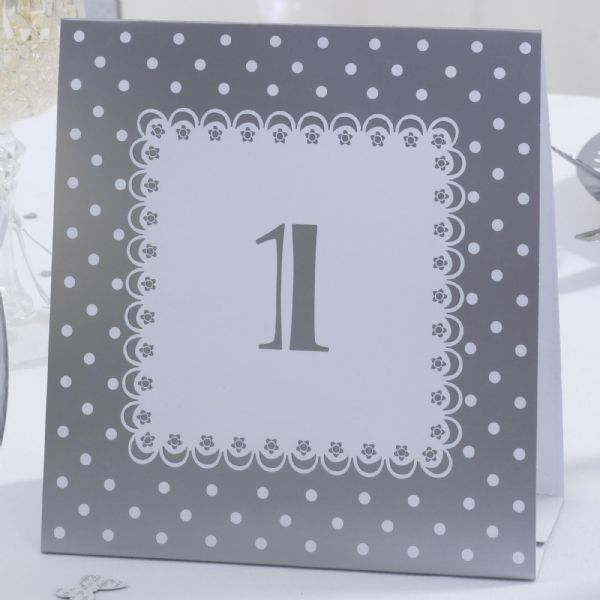 Chic Boutique White & Silver Table Numbers (12)